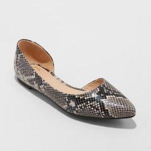 NWOT Snakeskin Gray d'Orsay Flats Slip On Shoes